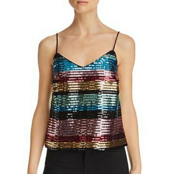 Wayf Tops - Wayf Rainbow Stripe Sequined Murphy Camisole NWT
